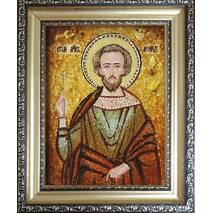 """Іменна ікона із бурштину """"Святий Леонід"""" 15 х 20 см без скла"""