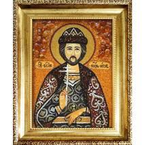 """Іменна ікона із бурштину """"Святий князь Ігор"""" 15х20 см без скла"""