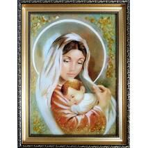 """Бурштинова ікона в дитячу кімнату """"Богородиця з немовлям"""" 30х40 см без скла"""