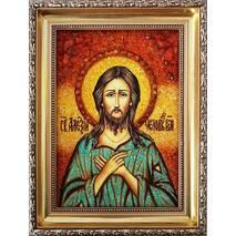 """Іменна ікона із бурштину """"Святий Олексій"""" 15х20 см без скла"""