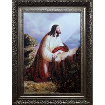 """Бурштинова ікона """"Ісус молиться"""" 20 х 30 см без скла"""