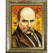 Портрет Шевченка в бурштині 20х30 см