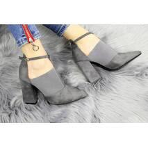 Туфли женские серые на каблуке Tretty 1154