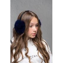 Меховые наушники  Уши темно-синий  (FL1353)