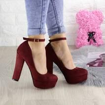 Туфли женские на каблуке бордовые Marshall 1299