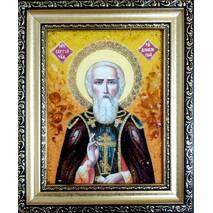 """Ікона із бурштину """"Святий Сергій"""" 15х20 см без скла"""