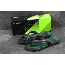 Вьетнамки мужские черные с зеленым Rider 5177