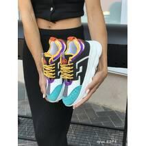 Женские кроссовки белые с черным и бирюзовым Versace 8278
