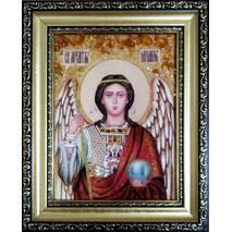 """Ікона із бурштину """"Святий Михаїл (Михайло)"""" 15х20 см без скла"""