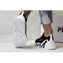 Кроссовки женские черные с белым Fila 5615