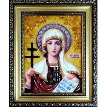 """Ікона із бурштину """"Свята Тетяна"""" 15х20 см без скла"""
