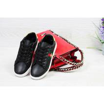 Кроссовки женские черно- белые Gucci 5558