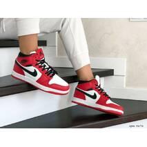 Женские зимние кроссовки красные с белым Nike Air Jordan 1 Retro 8676