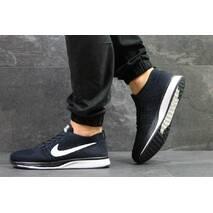 Кроссовки мужские темно синие с белым Nike Flyknit Racer 5348