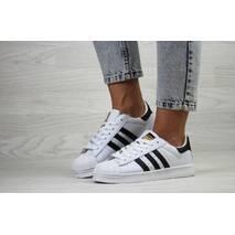 Женские кроссовки белые с черным Adidas Superstar 8106
