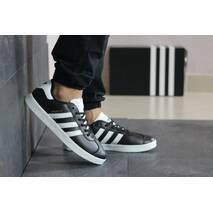 Мужские кроссовки черные с белым Adidas Gazelle 8488