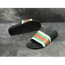 Шлепки мужские черно-белые с зеленым Gucci 5446