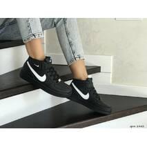 Кроссовки подростковые черные с белым Nike Air Force 8443