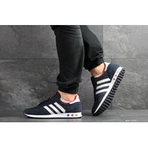 Мужские кроссовки темно синие с белым Adidas La Trainer 7821