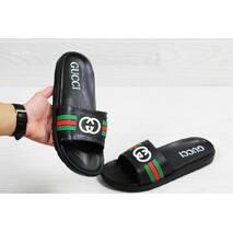 Шлепки мужские черные Gucci 5534