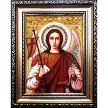 """Ікона із бурштину """"Святий Архангел Михаїл (Михайло)"""" 15х20 см без скла"""