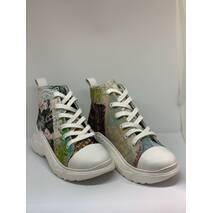 Кеды молодежные с цветным верхом, ткань + кожа, 38, 100-19.13