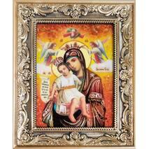 """Икона Божьей матери из янтаря  """"Достойно Есть"""" 15х20 см без стекла"""