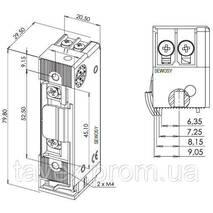 Защелка электромеханическая ROUREG - Н.З. с контролем закрытого состояния двери