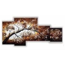 "Модульная картина из янтаря ""Сакура"" (5 частей) без рамки 185х90 см"