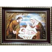 "Икона для ребенка из янтаря ""Святая семья"" 30х40 см без стекла"