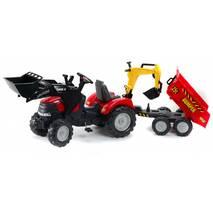 Дитячий трактор на педалях Falk 995w з Причепом і двома Ковшами