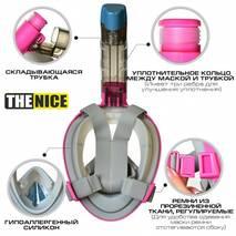 Маска для сноркелінгу TheNice F2 EasyBreath - III для дайвінгу з кріпленням для камери L/XL Рожевий