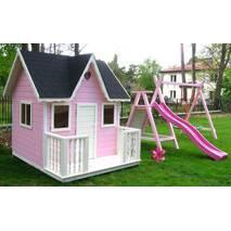 Дитячий ігровий майданчик для дівчаток PINK з гіркою і гойдалками