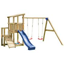 Детская игровая площадка с 2 горками Blue Rabbit CASCADE + SWING Синя