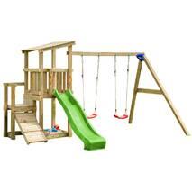 Детская игровая площадка с 2 горками Blue Rabbit CASCADE + SWING Зелена
