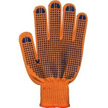 Трикотажні рукавиці з ПВХ крапкою оранжеві