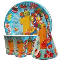 """Набор для детского дня рождения """" Первый год голубой """" Тарелки -10 шт Стаканчики - 10 шт Колпачки - 10 шт"""