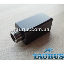 """Квадратный чёрный удлинитель CUBE 30x30 н/ж сталь. Длинна: от 10 до 90 мм. Резьба: внутр. 1/2"""" - наружн. 1/2"""""""