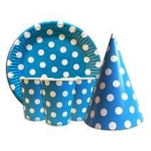 """Набір для дитячого дня народження """" Горох блакитної """" Тарілки - 10 шт Скляночки - 10 шт Ковпачки - 10 шт"""