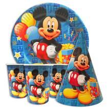 """Набор для детского дня рождения """" Микки Маус синий """" Тарелки -10 шт Стаканчики - 10 шт Колпачки - 10 шт"""