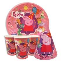 """Набор для детского дня рождения """" Свинка Пеппа """" Тарелки -10 шт Стаканчики - 10 шт Колпачки - 10 шт"""