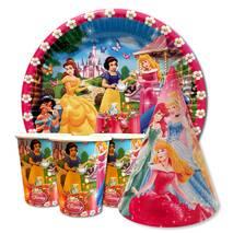 """Набір для дитячого дня народження """" Принцеси """" Тарілки - 10 шт Скляночки - 10 шт Ковпачки - 10 шт"""