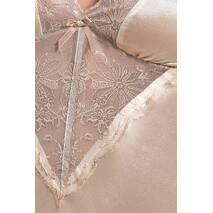 (SALE) Сорочка приталенная с чашечками LOTUS CHEMISE cream XXL/XXXL - Passion Exclusive, трусики