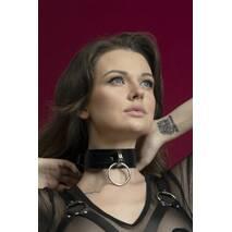 Чокер широкий с кольцом для поводка Feral Feelings - Collar черный, натуральная кожа