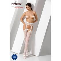 Эротические колготки-бодистокинг Passion S014 white, имитация чулок в сеточку и пояса