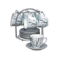 Набор чайный фарфоровый на металлической стойке - сервиз на 12 предметов