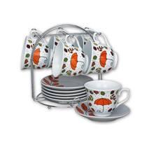 Набор чайный фарворовый на металлической стойке - 12 предметов