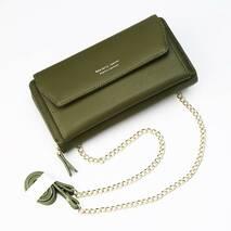 Женский кошелек BAELLERRY Ladies кожаный клатч с ремишком-цепочкой Зеленый