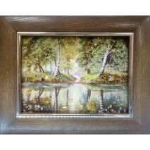 """Картина із бурштину """"Берези біля води"""" 15х20 см"""
