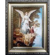 """Ікона із бурштину в дитячу кімнату """"Ангел і діти"""" 15х20 см без скла"""